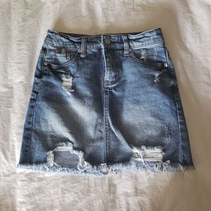 Wild Fable Distressed Denim Mini Skirt Raw Hem